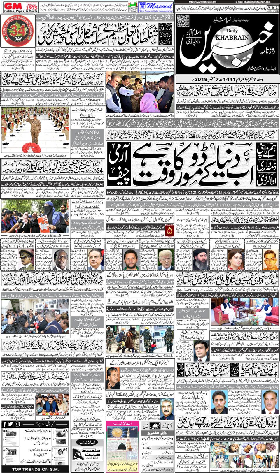 Daily Khabrain Urdu Newspaper Lahore Today ePaper